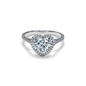 ティファニーソレストハートシェイプエンゲージメントリングダイヤモンドプラチナバンド